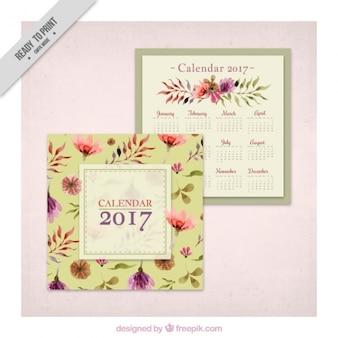 2017 calendário do vintage com flores da aguarela