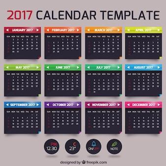 2017 modelo de calendário mensal