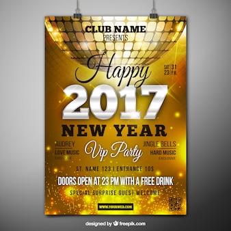 2017 poster dourado com bola de discoteca