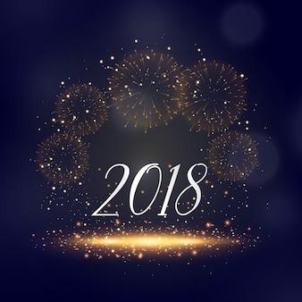 2018 ano novo sparkles e saudação de fundo de fogos de artifício