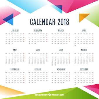 2018 calendário abstrato