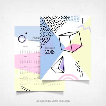 2018 calendário moderno com formas de memphis