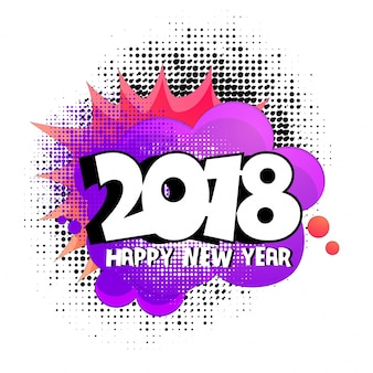 2018 em halftone, fundo de arte pop para feliz ano novo