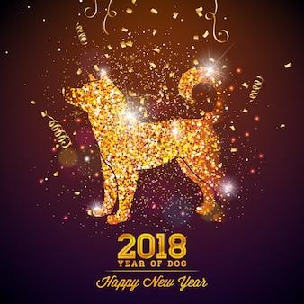 2018 ilustração do ano novo chinês com símbolo brilhante no fundo de celebração brilhante. ano do projeto do vetor do cão.