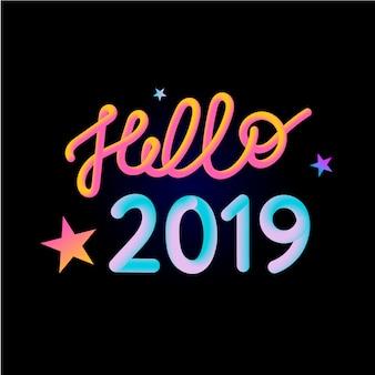 2019 ano novo cartão 3d banner ilustração
