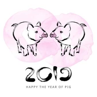2019 ano novo chinês com porco
