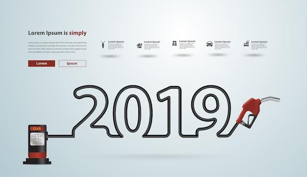 2019 ano novo com design criativo do bocal da bomba de gasolina