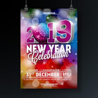 2019 ano novo festa celebração poster design