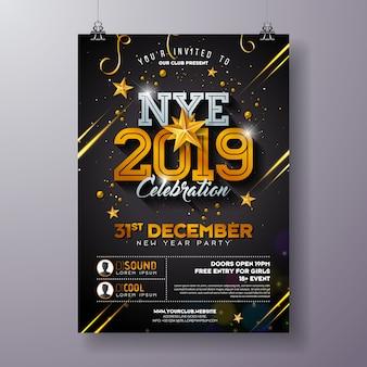 2019, ano novo, partido, celebração, cartaz, modelo, ilustração, com, brilhante, ouro, número