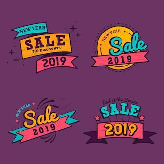 2019 ano novo venda distintivo vector set
