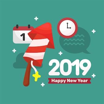 2019 cartão postal com ilustração de elementos de ano novo