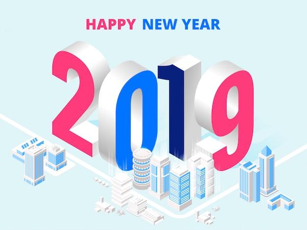 2019 cartaz de feliz ano novo
