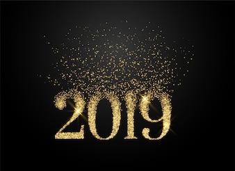 2019 escrito em brilhos e estilo glitter