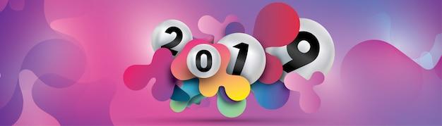 2019 feliz ano novo com a esfera de fluido dinâmico líquido