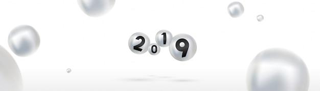 2019 feliz ano novo com bolas de natal coloridas ou bolas ou bolhas abstratas
