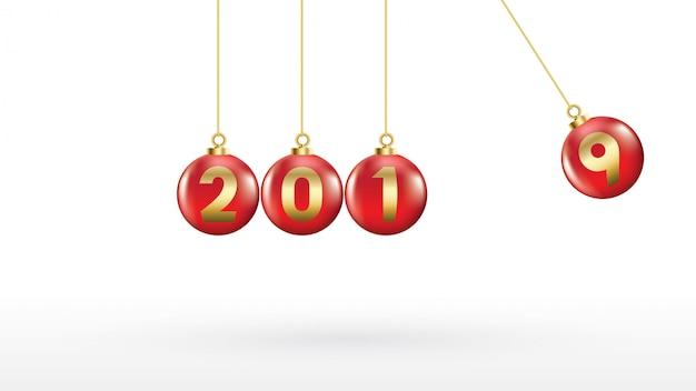 2019 feliz ano novo com bolas de natal de cor ou abstrato