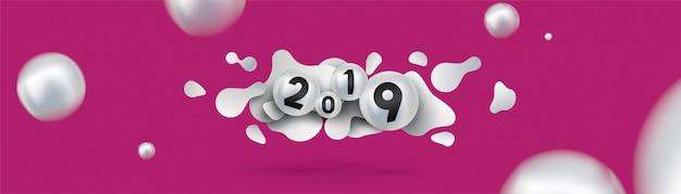 2019 feliz ano novo com esferas de fluido dinâmicas líquidas