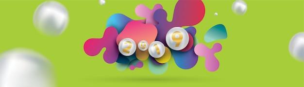 2019 feliz ano novo com esferas de fluidos dinâmicos líquidos e bolas de natal