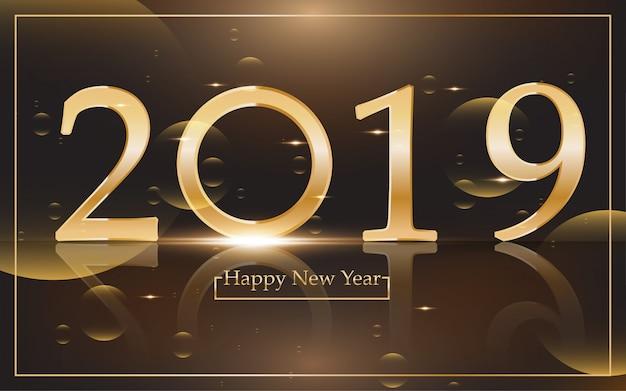 2019 feliz ano novo com fundo dourado