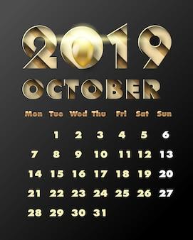 2019 feliz ano novo com papel de ouro cortado estilo de arte e artesanato. calendário para outubro