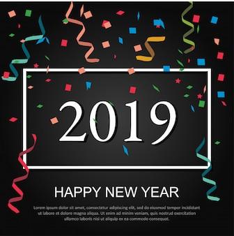 2019 feliz ano novo design para banners, capas, cartazes, panfletos e fundos.