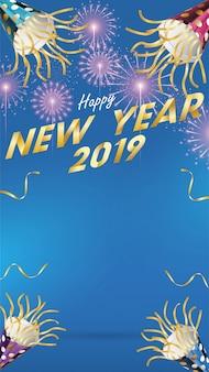 2019, feliz ano novo, fundo, para, sazonal, panfletos