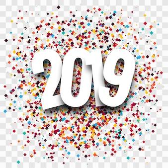 2019 feliz ano novo texto colorido fundo brilhante