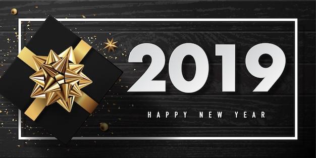 2019 feliz ano novo vetor cartão e design de cartaz com fita dourada e estrela.