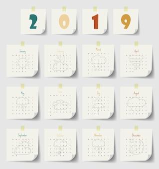 2019 modelo de calendário moderno .vector / ilustração.