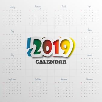 2019 modelo de calendário moderno