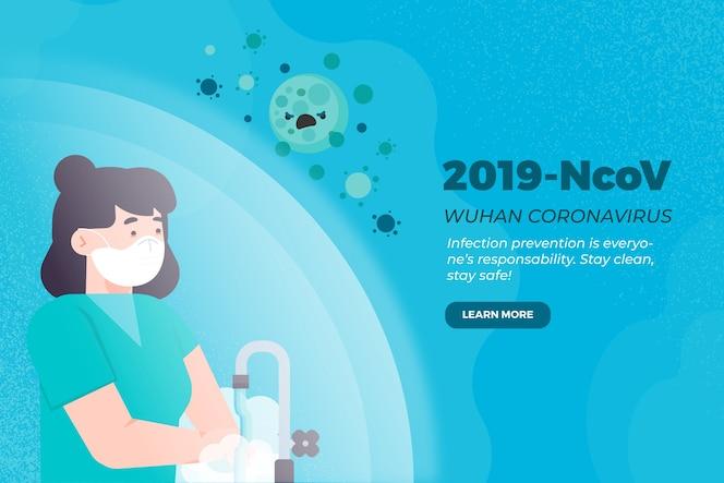 2019-ncov conceito mulher lavando as mãos
