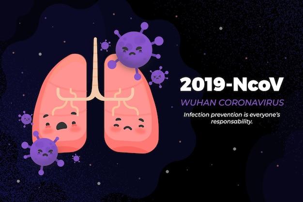2019-ncov conceito pulmões e bactérias