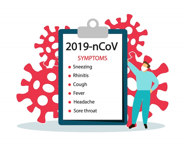2019-ncov. sintomas coronavírus. banner, placat.