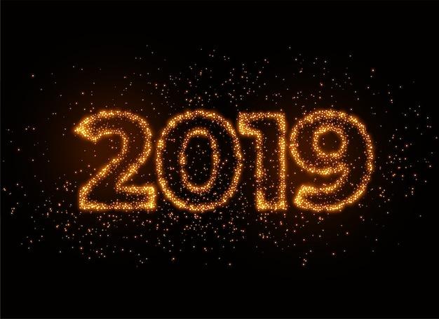2019 writter em efeito brilhante de partículas brilhantes