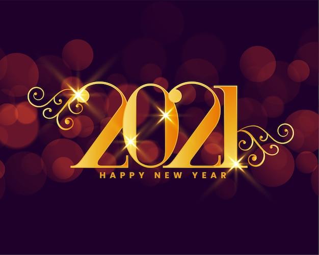 202 cartão de desejos de ano novo com bokeh de fundo