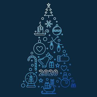 2020, ano novo, árvore, azul, contorno, ilustração