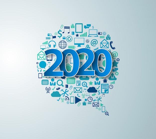 2020 ano novo com software de negócios de tecnologia de elementos de aplicativo