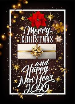 2020 ano novo e feliz natal fundo com presentes e elementos dourados