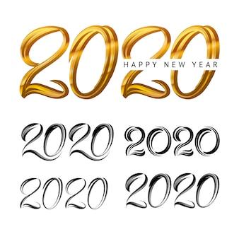 2020 ano novo em estilo de luxo dourado