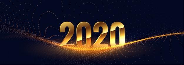 2020 ano novo em estilo dourado com onda de partículas
