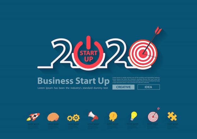 2020, ano novo, negócio, arranque, plano