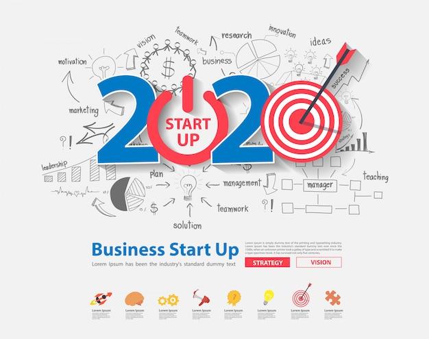 2020, ano novo, startup, e, alvo, mercado, idéias, conceito, desenho