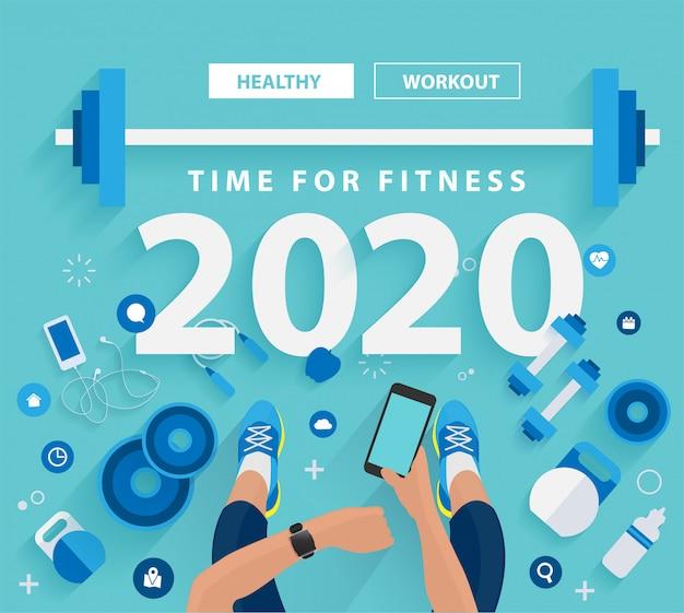 2020, ano novo, tempo, para, condicão física, em, ginásio, estilo vida saudável, idéias, conceito, desenho