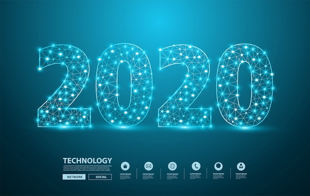 2020, ano novo, texto, desenho, com, malha, elegante, alfabeto, letras, números