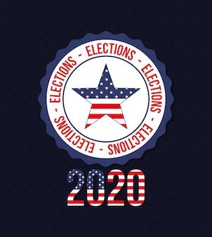 2020 com a estrela dos eua no design do selo, voto eleitoral para presidente, governo e tema da campanha