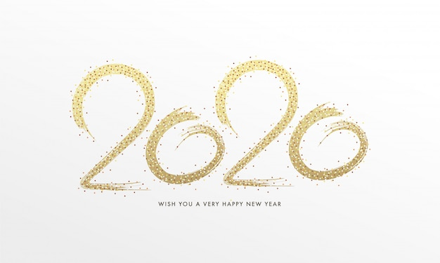 2020 criativo texto escrito por pincel de brilho dourado sobre fundo branco.