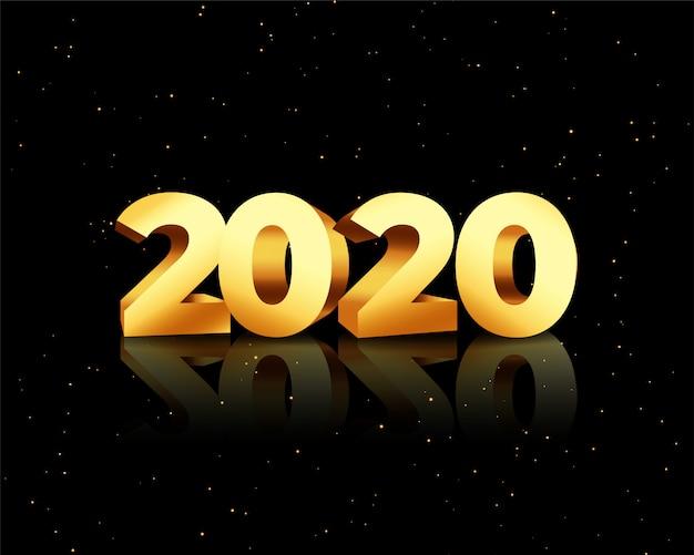 2020 dourado em estilo 3d no cartão preto