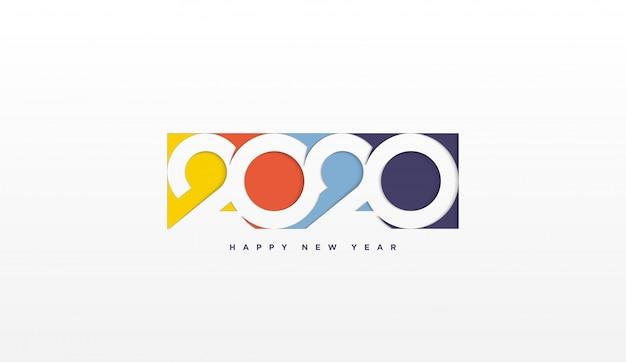 2020 feliz aniversário fundo com ilustrações coloridas em 2020