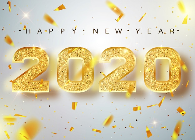 2020 feliz ano novo. cartão de ouro números de confetes caindo brilhantes. padrão de ouro brilhante. feliz ano novo banner com números de 2020 na bright. .