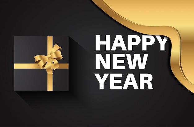 2020 feliz ano novo cartão para celebração. caixa de presente 3d de luxo com fita de ouro